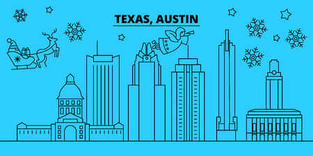 United States, Austin winter holidays skyline. Merry Christmas, Happy New Year decorated banner with Santa Claus.Flat, outline vector.United States, Austin linear christmas city illustration Vector Illustration
