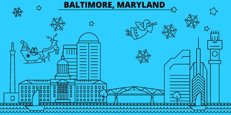 United States, Baltimore winter holidays skyline. Merry Christmas, Happy New Year decorated banner with Santa Claus.Flat, outline vector.United States, Baltimore linear christmas city illustration