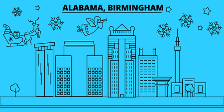 United States, Birmingham winter holidays skyline. Merry Christmas, Happy New Year decorated banner with Santa Claus.Flat, outline vector.United States, Birmingham linear christmas city illustration Illustration