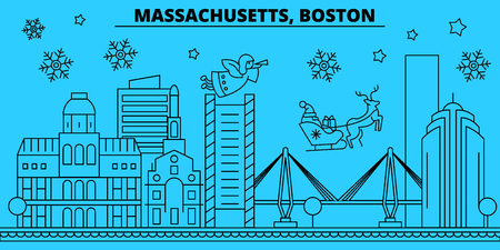United States, Boston winter holidays skyline. Merry Christmas, Happy New Year decorated banner with Santa Claus.Flat, outline vector.United States, Boston linear christmas city illustration 일러스트