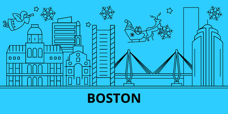 United States, Boston city winter holidays skyline. Merry Christmas, Happy New Year decorated banner with Santa Claus.Outline vector.United States, Boston city linear christmas city illustration 일러스트