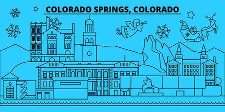 United States, Colorado Springs winter holidays skyline. Merry Christmas, Happy New Year  with Santa Claus.Outline vector.United States, Colorado Springs linear christmas city illustration
