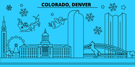 United States, Denver winter holidays skyline. Merry Christmas, Happy New Year decorated banner with Santa Claus.Flat, outline vector.United States, Denver linear christmas city illustration