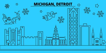 United States, Detroit winter holidays skyline. Merry Christmas, Happy New Year decorated banner with Santa Claus.Flat, outline vector.United States, Detroit linear christmas city illustration