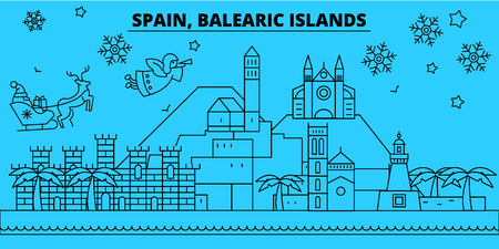 Spain, Balearic Islands winter holidays skyline. Merry Christmas, Happy New Year decorated banner with Santa Claus.Flat, outline vector.Spain, Balearic Islands linear christmas city illustration