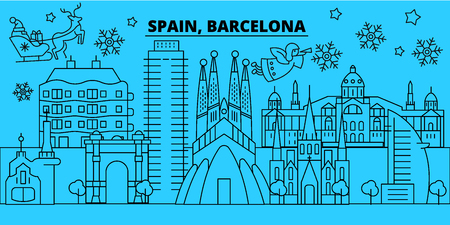 Spain, Barcelona city winter holidays skyline. Merry Christmas, Happy New Year decorated banner with Santa Claus.Flat, outline vector.Spain, Barcelona city linear christmas city illustration