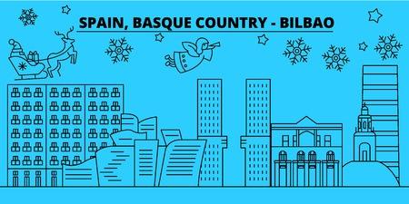 Spain, Bilbao, Basque Country winter holidays skyline. Merry Christmas, Happy New Year  with Santa Claus.Outline vector.Spain, Bilbao, Basque Country linear christmas city illustration