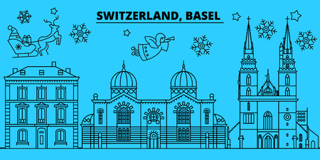 Switzerland, Basel winter holidays skyline. Merry Christmas, Happy New Year decorated banner with Santa Claus.Flat, outline vector.Switzerland, Basel linear christmas city illustration