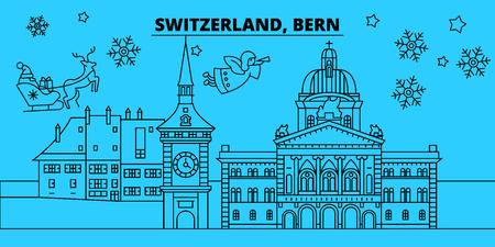 Switzerland, Bern winter holidays skyline. Merry Christmas, Happy New Year decorated banner with Santa Claus.Flat, outline vector.Switzerland, Bern linear christmas city illustration Illustration