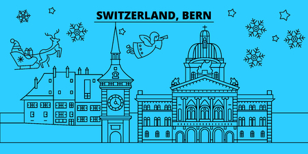 Switzerland, Bern winter holidays skyline. Merry Christmas, Happy New Year decorated banner with Santa Claus.Flat, outline vector.Switzerland, Bern linear christmas city illustration Ilustração