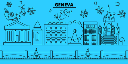 Switzerland, Geneva winter holidays skyline. Merry Christmas, Happy New Year decorated banner with Santa Claus.Flat, outline vector.Switzerland, Geneva linear christmas city illustration Illustration