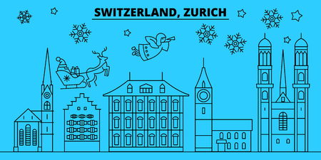 Switzerland, Zurich winter holidays skyline. Merry Christmas, Happy New Year decorated banner with Santa Claus.Flat, outline vector.Switzerland, Zurich linear christmas city illustration