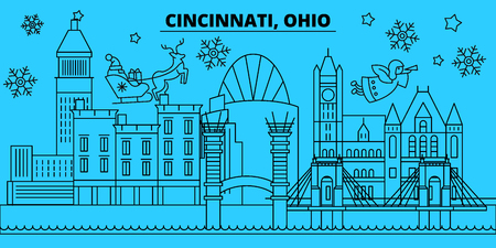 United States, Cincinnati winter holidays skyline. Merry Christmas, Happy New Year decorated banner with Santa Claus.Flat, outline vector.United States, Cincinnati linear christmas city illustration