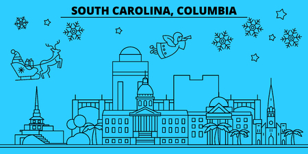 United States, Columbia winter holidays skyline. Merry Christmas, Happy New Year decorated banner with Santa Claus.Flat, outline vector.United States, Columbia linear christmas city illustration