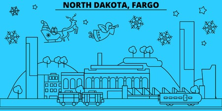 United States, Fargo winter holidays skyline. Merry Christmas, Happy New Year decorated banner with Santa Claus.Flat, outline vector.United States, Fargo linear christmas city illustration