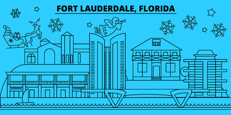 United States, Fort Lauderdale winter holidays skyline. Merry Christmas, Happy New Year  with Santa Claus.Outline vector.United States, Fort Lauderdale linear christmas city illustration