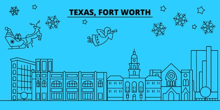 United States, Fort Worth winter holidays skyline. Merry Christmas, Happy New Year decorated banner with Santa Claus.Flat, outline vector.United States, Fort Worth linear christmas city illustration