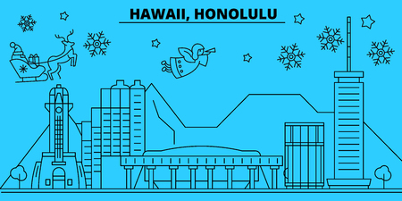 United States, Honolulu winter holidays skyline. Merry Christmas, Happy New Year decorated banner with Santa Claus.Flat, outline vector.United States, Honolulu linear christmas city illustration