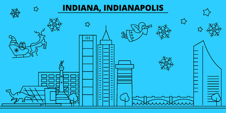 United States, Indianapolis winter holidays skyline. Merry Christmas, Happy New Year decorated banner with Santa Claus.Outline vector.United States, Indianapolis linear christmas city illustration