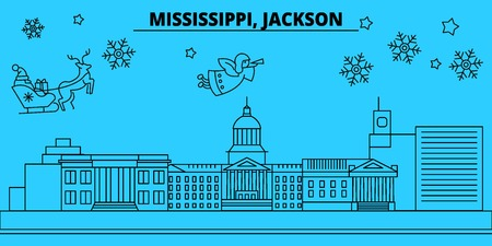 United States, Jackson winter holidays skyline. Merry Christmas, Happy New Year decorated banner with Santa Claus.Flat, outline vector.United States, Jackson linear christmas city illustration