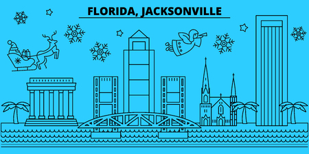 United States, Jacksonville winter holidays skyline. Merry Christmas, Happy New Year decorated banner with Santa Claus.Outline vector.United States, Jacksonville linear christmas city illustration