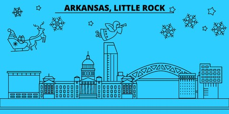 United States, Little Rock winter holidays skyline. Merry Christmas, Happy New Year decorated banner with Santa Claus.Outline vector.United States, Little Rock linear christmas city illustration