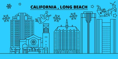 United States, Long Beach winter holidays skyline. Merry Christmas, Happy New Year decorated banner with Santa Claus.Flat, outline vector.United States, Long Beach linear christmas city illustration