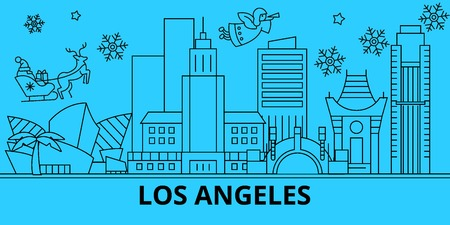 United States, Los Angeles city winter holidays skyline. Merry Christmas, Happy New Year  with Santa Claus.Outline vector.United States, Los Angeles city linear christmas city illustration  イラスト・ベクター素材