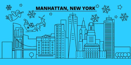 United States, Manhattan winter holidays skyline. Merry Christmas, Happy New Year decorated banner with Santa Claus.Flat, outline vector.United States, Manhattan linear christmas city illustration