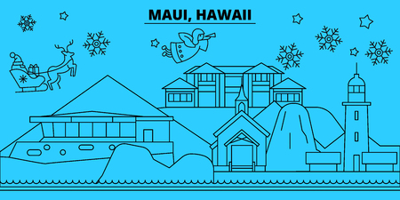 United States, Maui winter holidays skyline. Merry Christmas, Happy New Year decorated banner with Santa Claus.Flat, outline vector.United States, Maui linear christmas city illustration