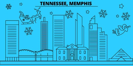 United States, Memphis winter holidays skyline. Merry Christmas, Happy New Year decorated banner with Santa Claus.Flat, outline vector.United States, Memphis linear christmas city illustration