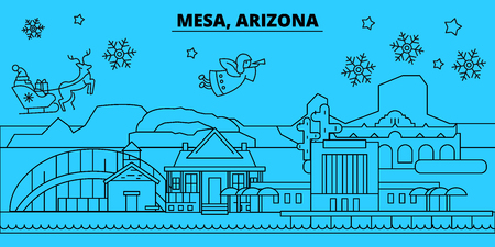 United States, Mesa winter holidays skyline. Merry Christmas, Happy New Year decorated banner with Santa Claus.Flat, outline vector.United States, Mesa linear christmas city illustration 向量圖像