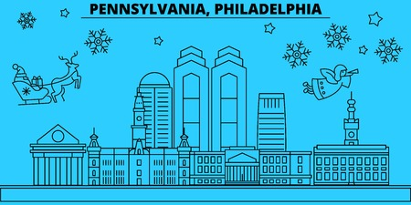 United States, Philadelphia winter holidays skyline. Merry Christmas, Happy New Year decorated banner with Santa Claus.Outline vector.United States, Philadelphia linear christmas city illustration Иллюстрация