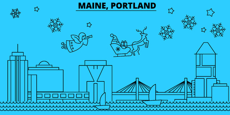 United States, Portland Maine winter holidays skyline. Merry Christmas, Happy New Year  with Santa Claus.Outline vector.United States, Portland Maine linear christmas city illustration