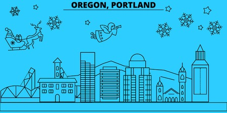 United States, Portland oregon winter holidays skyline. Merry Christmas, Happy New Year  with Santa Claus.Outline vector.United States, Portland oregon linear christmas city illustration