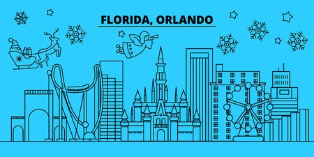 United States, Orlando winter holidays skyline. Merry Christmas, Happy New Year decorated banner with Santa Claus.Flat, outline vector.United States, Orlando linear christmas city illustration