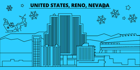 United States, Reno, Nevada winter holidays skyline. Merry Christmas, Happy New Year decorated banner with Santa Claus.Outline vector.United States, Reno, Nevada linear christmas city illustration
