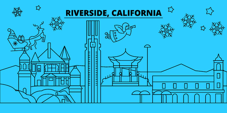 United States, Riverside winter holidays skyline. Merry Christmas, Happy New Year decorated banner with Santa Claus.Flat, outline vector.United States, Riverside linear christmas city illustration 向量圖像