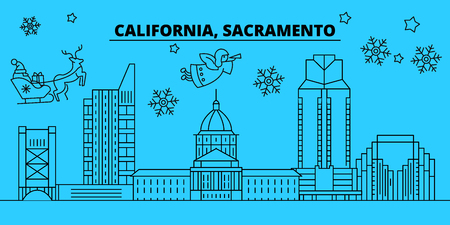 United States, Sacramento winter holidays skyline. Merry Christmas, Happy New Year decorated banner with Santa Claus.Flat, outline vector.United States, Sacramento linear christmas city illustration