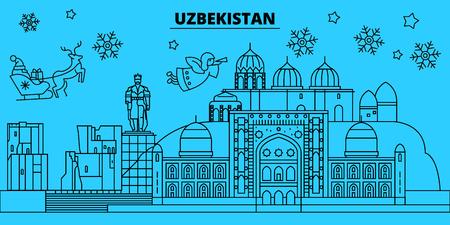 Uzbekistan winter holidays skyline. Merry Christmas, Happy New Year decorated banner with Santa Claus.Flat, outline vector.Uzbekistan linear christmas city illustration