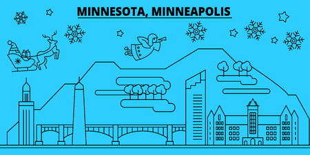 United States, Minneapolis winter holidays skyline. Merry Christmas, Happy New Year decorated banner with Santa Claus.Outline vector.United States, Minneapolis linear christmas city illustration