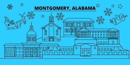 United States, Montgomery winter holidays skyline. Merry Christmas, Happy New Year decorated banner with Santa Claus.Flat, outline vector.United States, Montgomery linear christmas city illustration