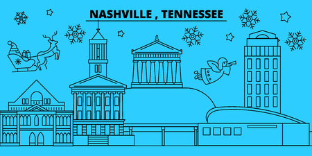 United States, Nashville winter holidays skyline. Merry Christmas, Happy New Year decorated banner with Santa Claus.Flat, outline vector.United States, Nashville linear christmas city illustration