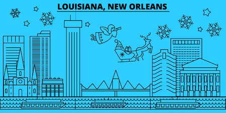 United States, New Orleans winter holidays skyline. Merry Christmas, Happy New Year decorated banner with Santa Claus.Outline vector.United States, New Orleans linear christmas city illustration Illustration