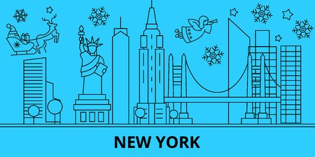 United States, New York winter holidays skyline. Merry Christmas, Happy New Year decorated banner with Santa Claus.Flat, outline vector.United States, New York linear christmas city illustration Ilustracja