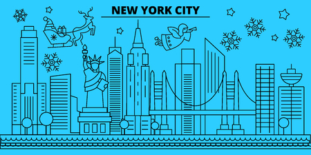 United States, New York City winter holidays skyline. Merry Christmas, Happy New Year decorated banner with Santa Claus.Outline vector.United States, New York City linear christmas city illustration Zdjęcie Seryjne - 113440492