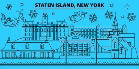 United States, New York Staten Island winter holidays skyline. Merry Christmas, Happy New Year  with Santa Claus.Outline vector.United States, New York Staten Island linear christmas city illustration