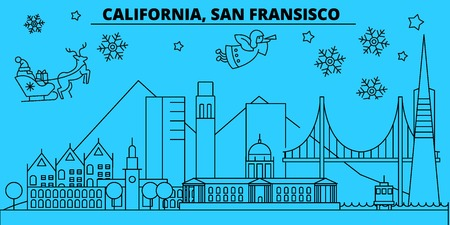United States, San Francisco winter holidays skyline. Merry Christmas, Happy New Year decorated banner with Santa Claus.Outline vector.United States, San Francisco linear christmas city illustration  イラスト・ベクター素材