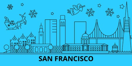 United States, San Francisco city winter holidays skyline. Merry Christmas, Happy New Year  with Santa Claus.Outline vector.United States, San Francisco city linear christmas city illustration