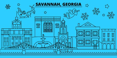 United States, Savannah winter holidays skyline. Merry Christmas, Happy New Year decorated banner with Santa Claus.Flat, outline vector.United States, Savannah linear christmas city illustration